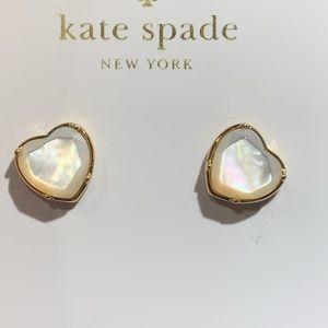 Kate Spade! Mother Pearl Heart Stud Earrings